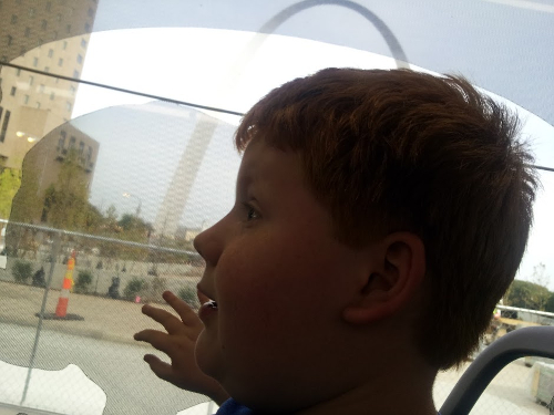 Riding the trolley past the arch