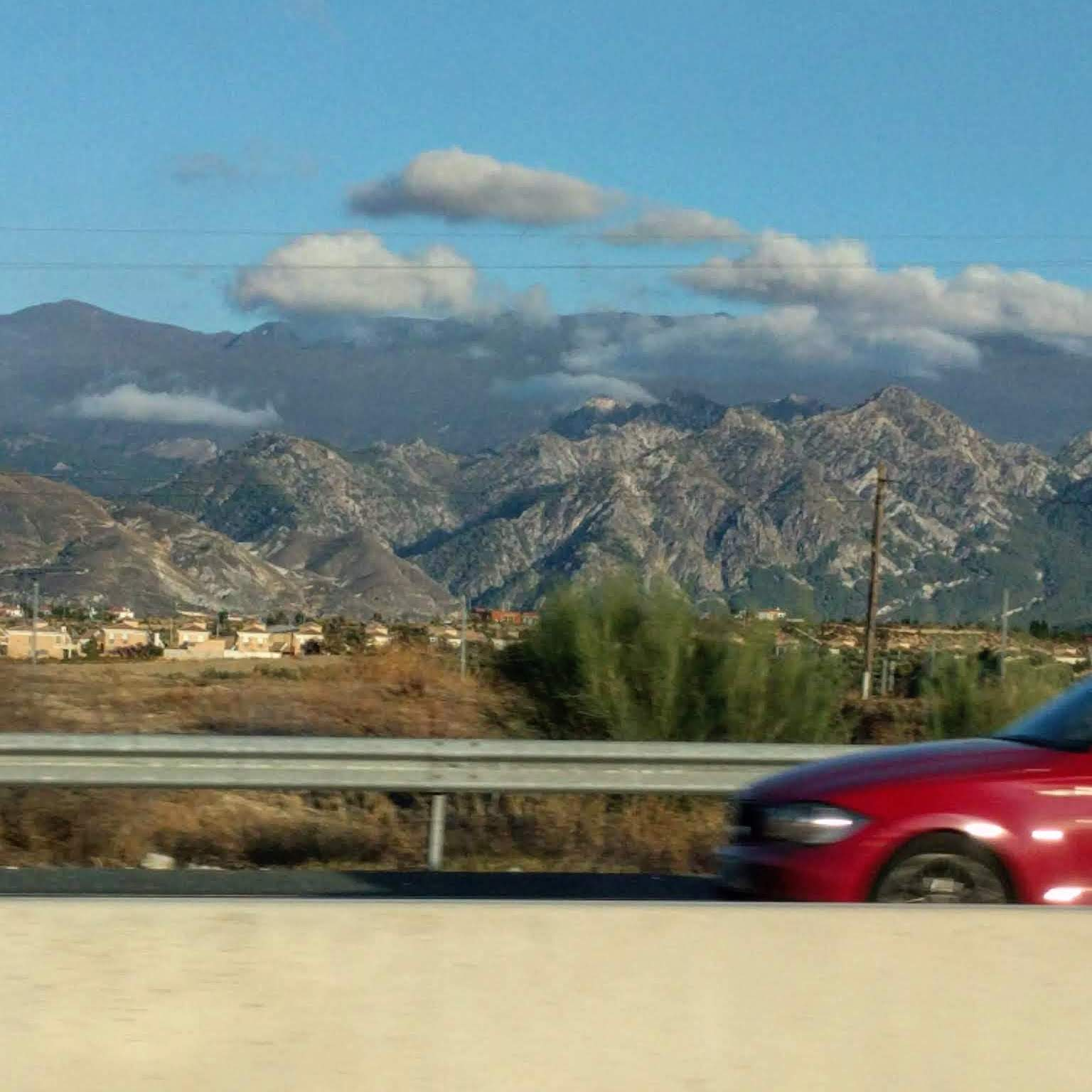 Picture of mountains as seen from the car